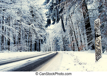 Street in a winter landscape with lot of snow on the trees