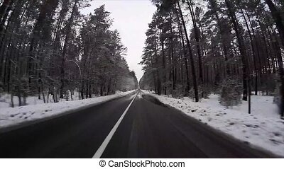 Winter road, timelapse