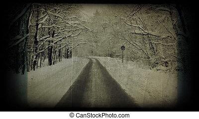 Winter road, vintage styled shot.