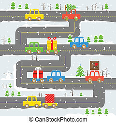 Winter road with cars illustration. Christmas eve