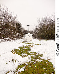 winter rolled up ball of snow trees landscape nature