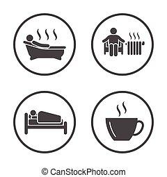winter., rounded, vinter, iconerne, enkel, sæson, set., vektor, aktivitet, vejr, lifestyle, design., ikon