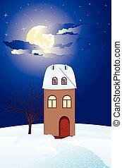 Winter rural cottage - Cold winter rural landscape with ...