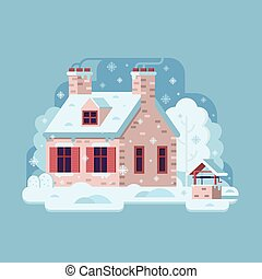 Winter Rural House with Chimney