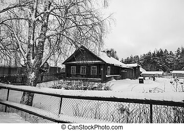 Winter rural landscape, in the nord of Russia. Black and white photo.