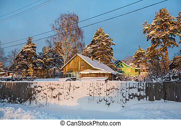 Winter rural landscape in the North-West of Russia.