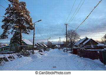 Winter rural landscape. Leningrad region, Russia.