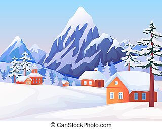 Winter rural landscape. Nature scene with snowy mountain peaks, wooden houses and spruce trees. Vector winter background