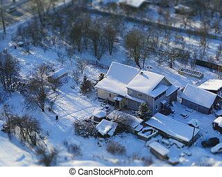 winter rural landscape top view