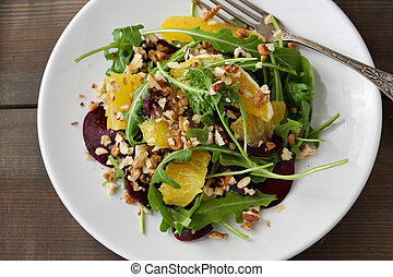 winter salad with orange and beetroots