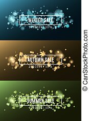 Winter sale. Autumn sale. Summer Sale. Background of multicolored lights. Glare bokeh. White, rectangular banners. Flying leaves of maple. Flying snowflakes
