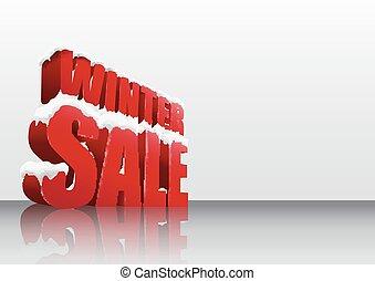 Winter sale background. 3D concept