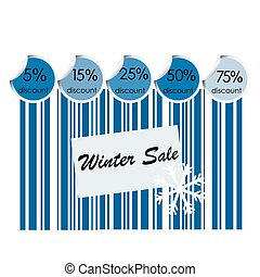 Winter sale background with bar code