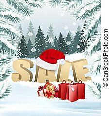 Winter Sale background with branches of tree and shopping bags. Vector