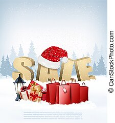 Winter Sale background with shopping bags and Santa Hat. Vector