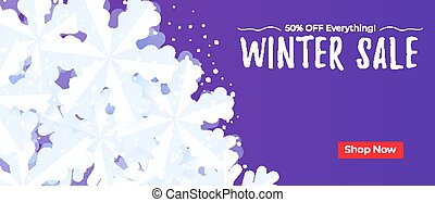 Winter sale banner background template with snowflakes and...