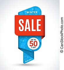 Winter sale banner. Christmas and New Year sale tag. Special offer vector template. Discount label. Up to 50 percent off badge. Half price sticker. Shopping background