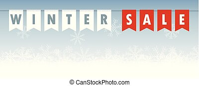 winter sale banner flags on snowy background