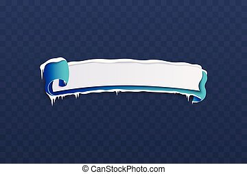 Winter sale banner with icicles vector illustration isolated on transparent.