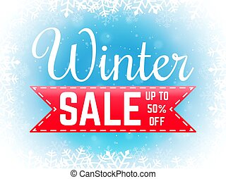 Winter sale banner with snowflakes. Special offer poster. Christmas sale promotion. Vector illustration on blue background