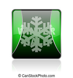 winter sale black and green square web glossy icon