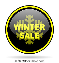 winter sale black and yellow glossy internet icon