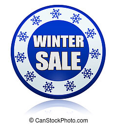 winter sale blue circle banner with snowflakes symbol