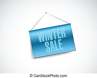 winter sale blue hanging banner illustration