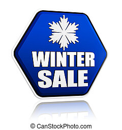 winter sale blue hexagon banner with snowflake symbol