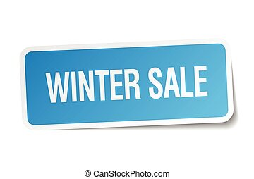 winter sale blue square sticker isolated on white