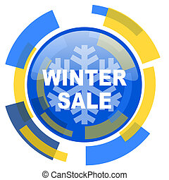 winter sale blue yellow glossy web icon