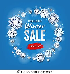 Winter Sale Card With White Snowflakes