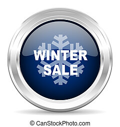 winter sale cirle glossy dark blue web icon on white background