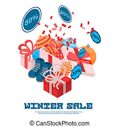 Winter sale concept background, isometric style