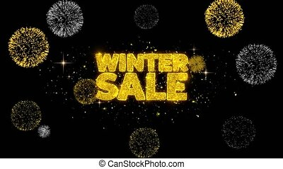 Winter Sale Golden Text Blinking Particles with Golden...