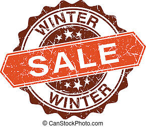 Winter sale grungy stamp isolated on white background
