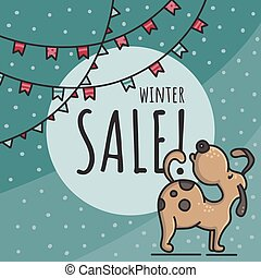 Winter sale hand drawn doodle vector illustration with dog