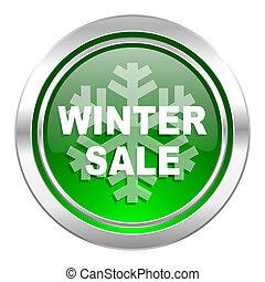 winter sale icon, green button