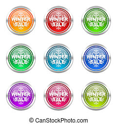 winter sale icons set