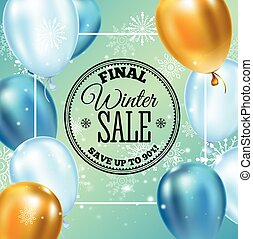 Winter sale inscription on background with snowflake and...