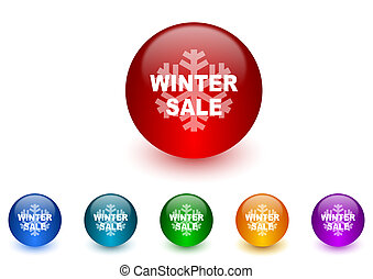 winter sale internet icons colorful set
