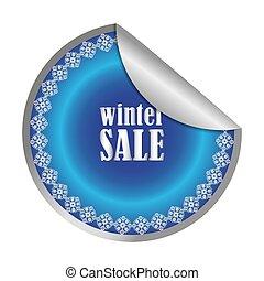 Winter Sale label, vector illustration