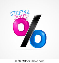 Winter Sale Object Isolated on White Background