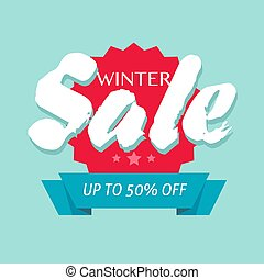 Winter sale off or seasonal discount banner design vector symbol, flat cartoon promotion or clearance background template sign with up to 50 percent off, clearance special offer blue red