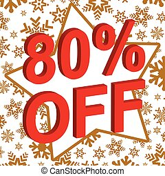 Winter sale poster with 80 PERCENT OFF text. Advertising vector banner