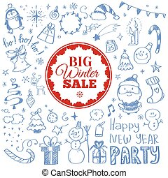 Winter sale poster with Christmas doodles. Vector illustration.