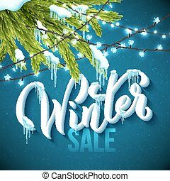 Winter sale poster with realistic fir tree, icicles and christmas sparkling lights. Vector illustration.