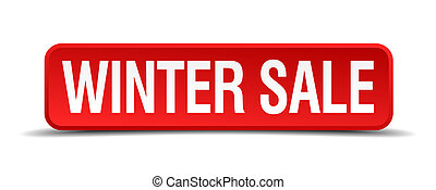 Winter sale red 3d square button isolated on white