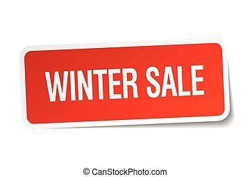 winter sale red square sticker isolated on white