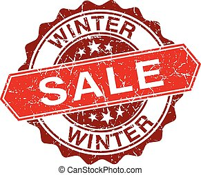 Winter sale red vintage stamp isolated on white background
